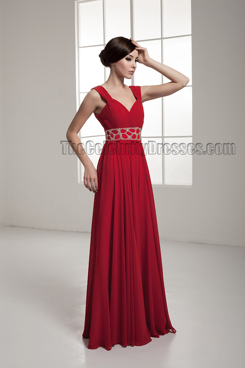 Celebrity Inspired Red Backless Evening Dress Prom Gown - TheCelebrityDresses