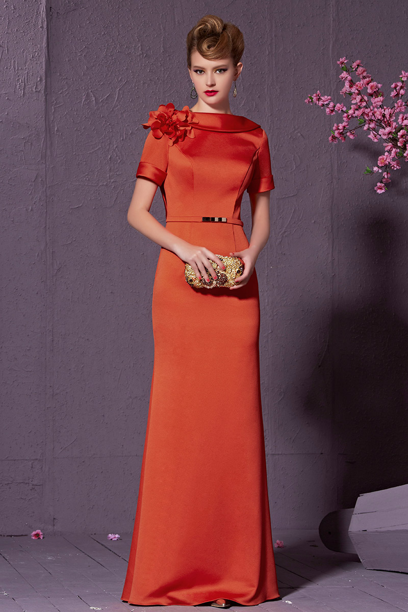Celebrity Inspired Short Sleeve Formal Dress Evening Gown ...