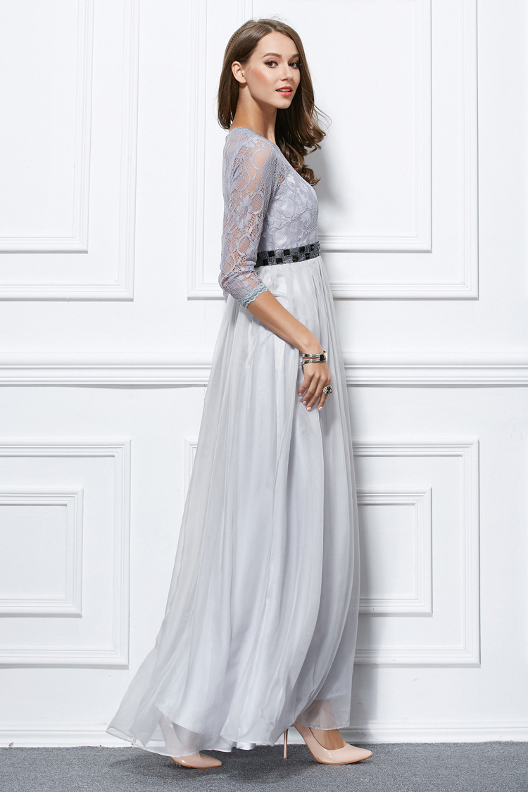 Celebrity Inspired Silver Long Sleeve Prom Gown Evening Formal ...
