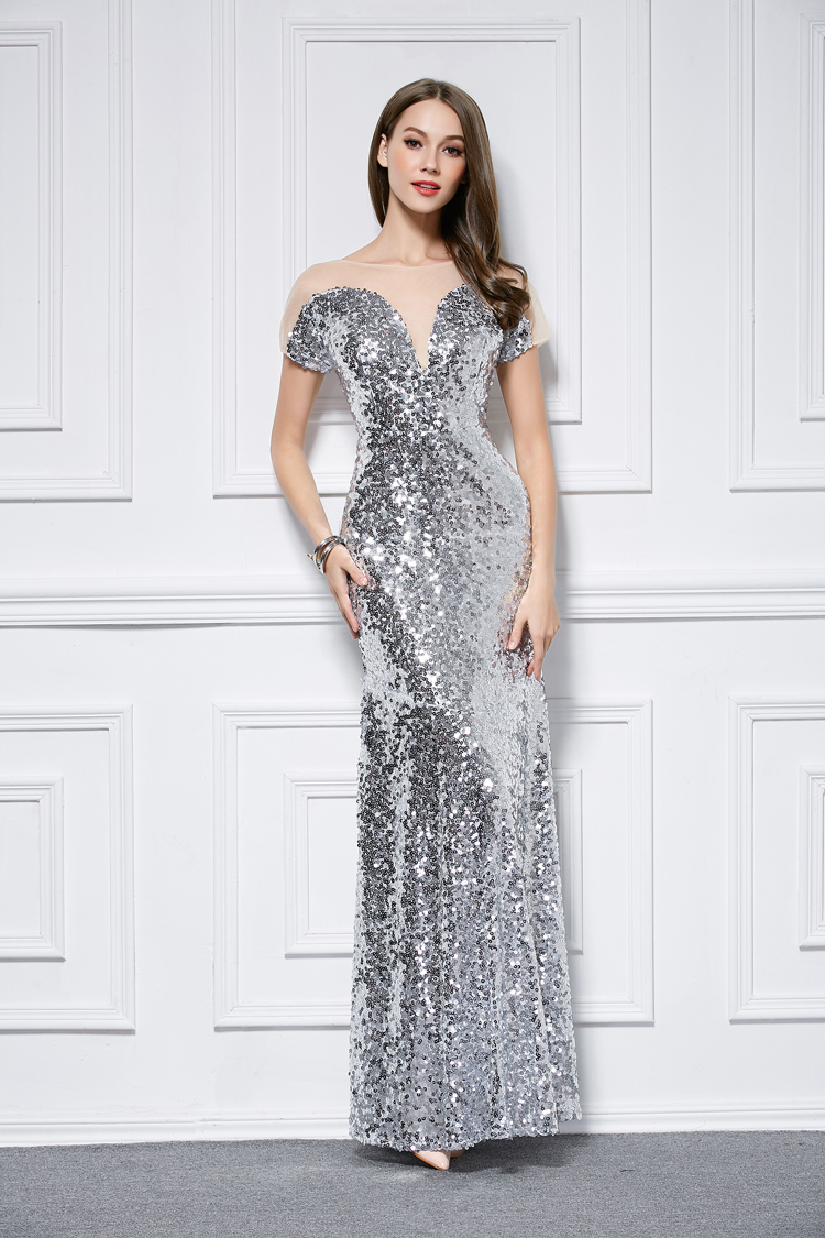 Celebrity Inspired Silver Sequins Short Sleeve Evening
