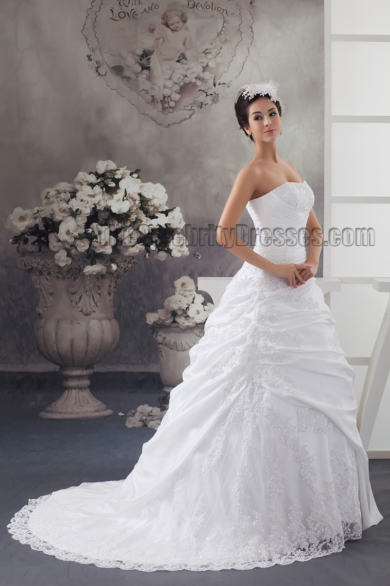 Celebrity Inspired Strapless Ball Gown Beaded Wedding Dresses ...