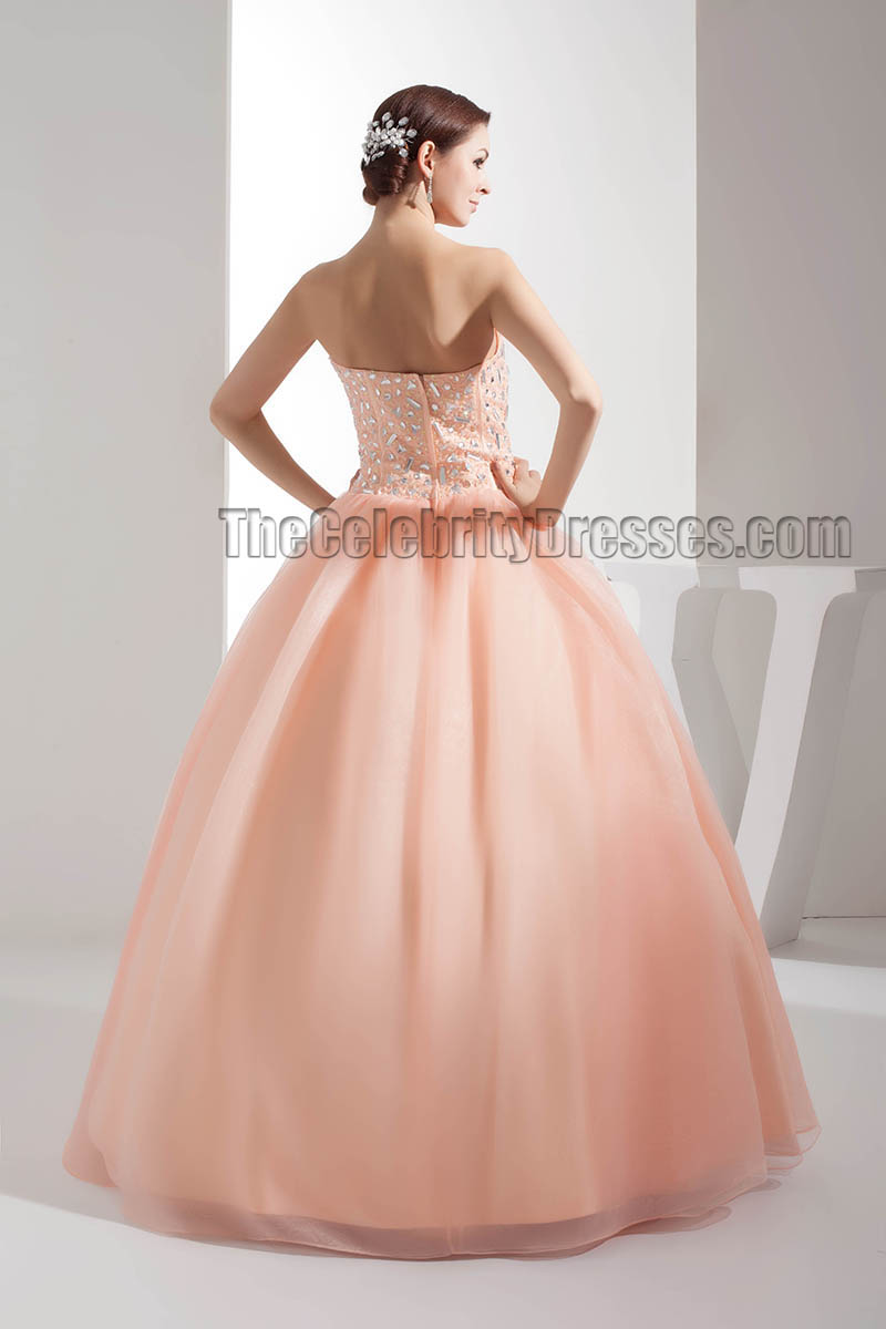 Celebrity Inspired Strapless Sweetheart Beaded Ball Gown Evening ...