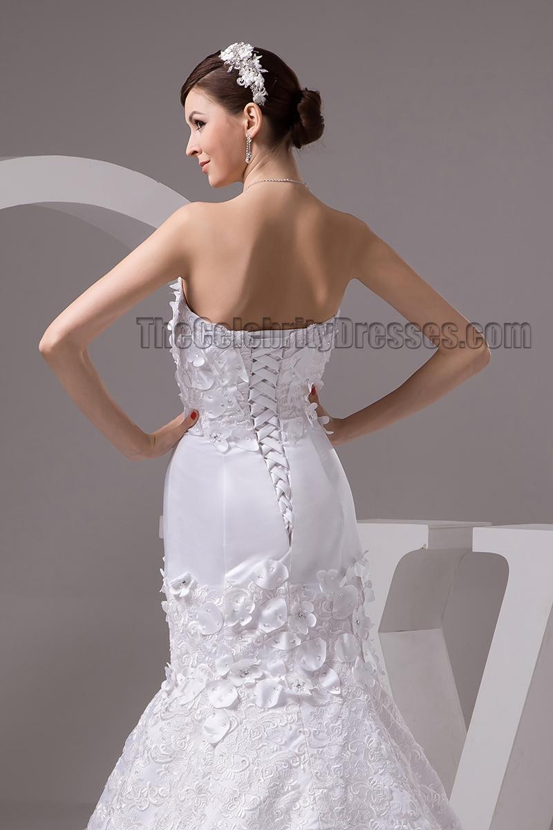 Celebrity inspired strapless sweetheart mermaid lace up for Strapless sweetheart mermaid wedding dress