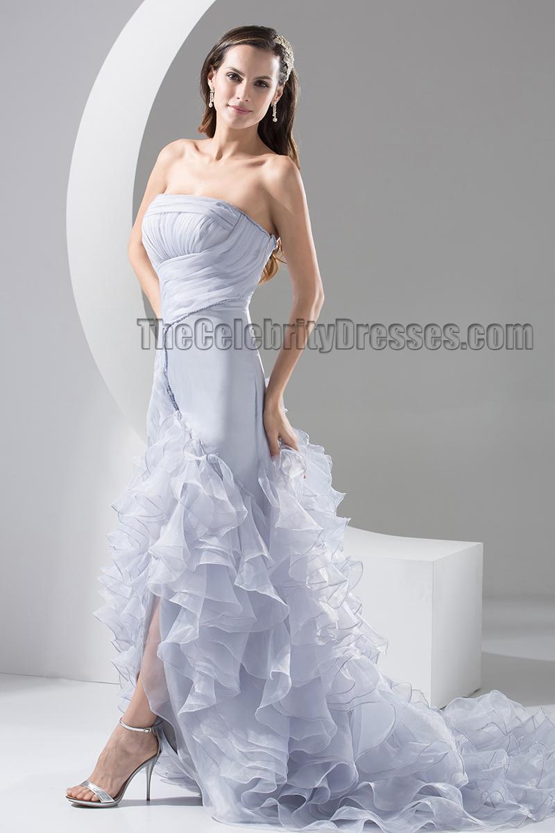 Celebrity inspired strapless trumpet mermaid organza for Organza trumpet wedding dress