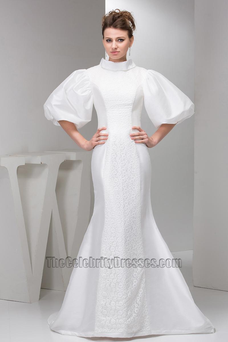 Celebrity Inspired Trumpet Mermaid Taffeta Lace Wedding Dress ...