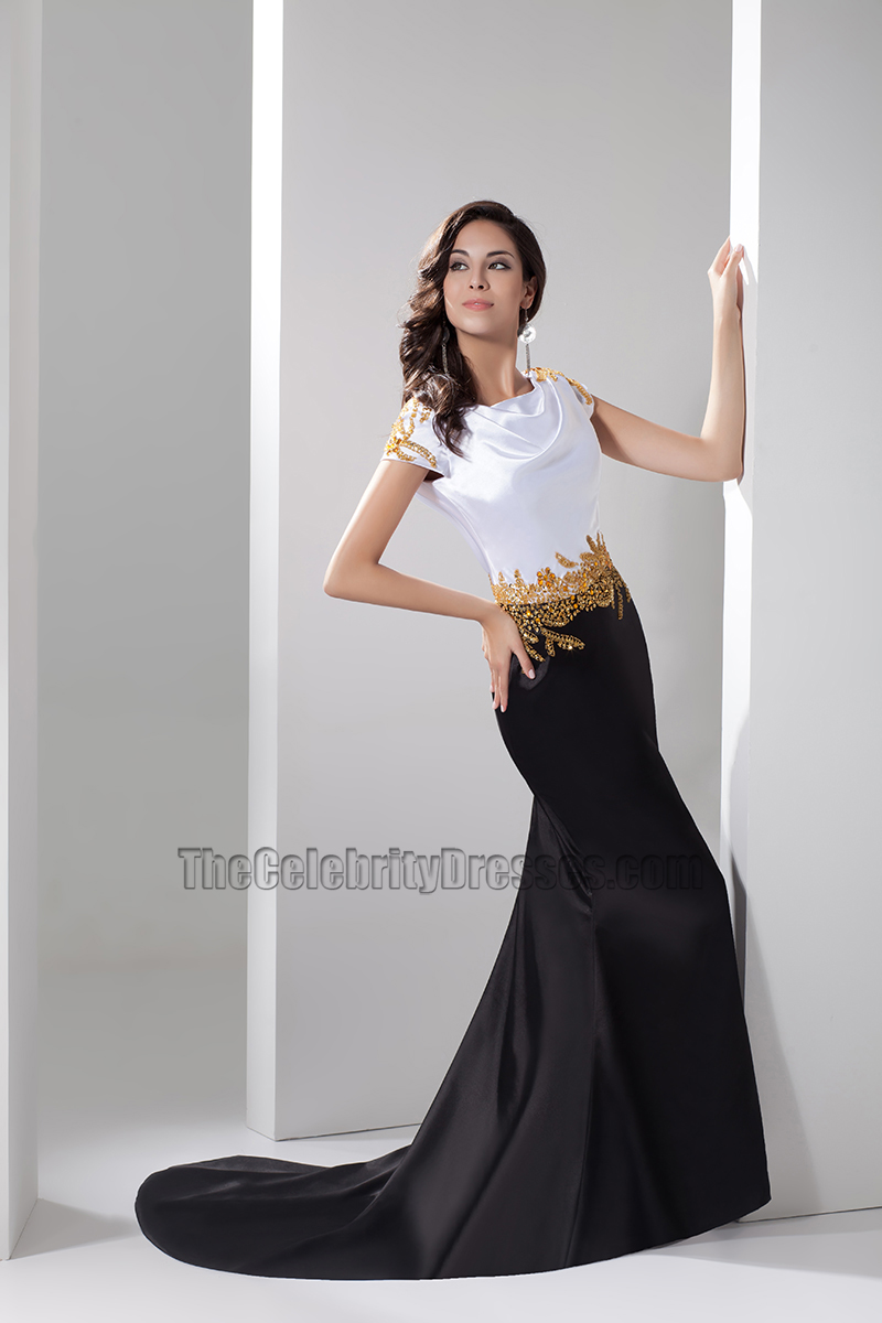 Celebrity Inspired White And Black Formal Dress Evening Gown ...