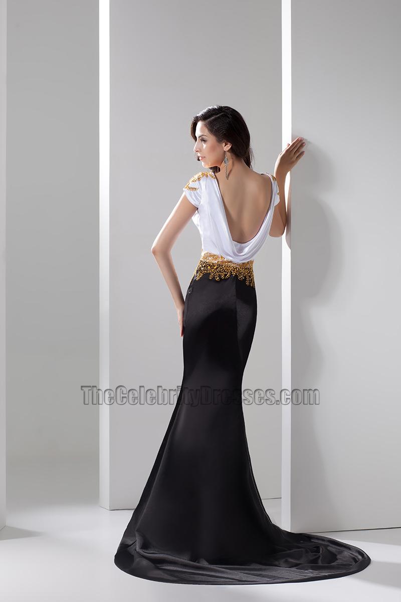 Celebrity Inspired White And Black Formal Dress Evening