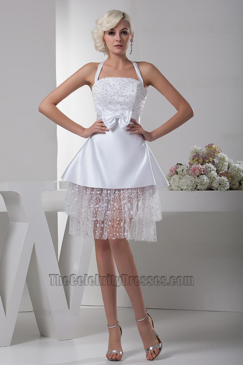 Celebrity Inspired White Short Halter Party Homecoming Dresses