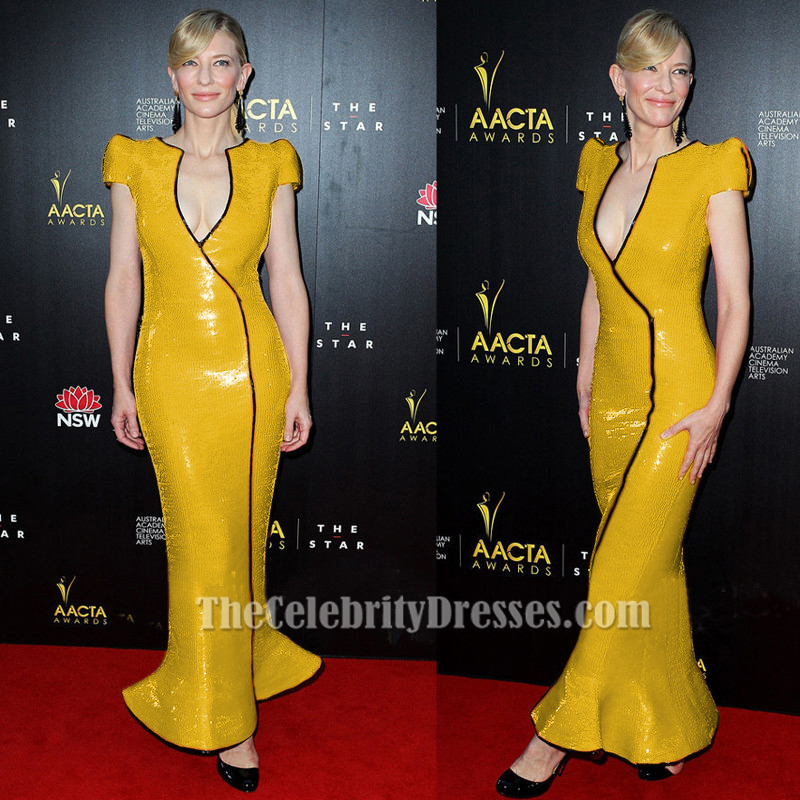 Celebrity Inspired Yellow Sequined Formal Dress Prom Gown