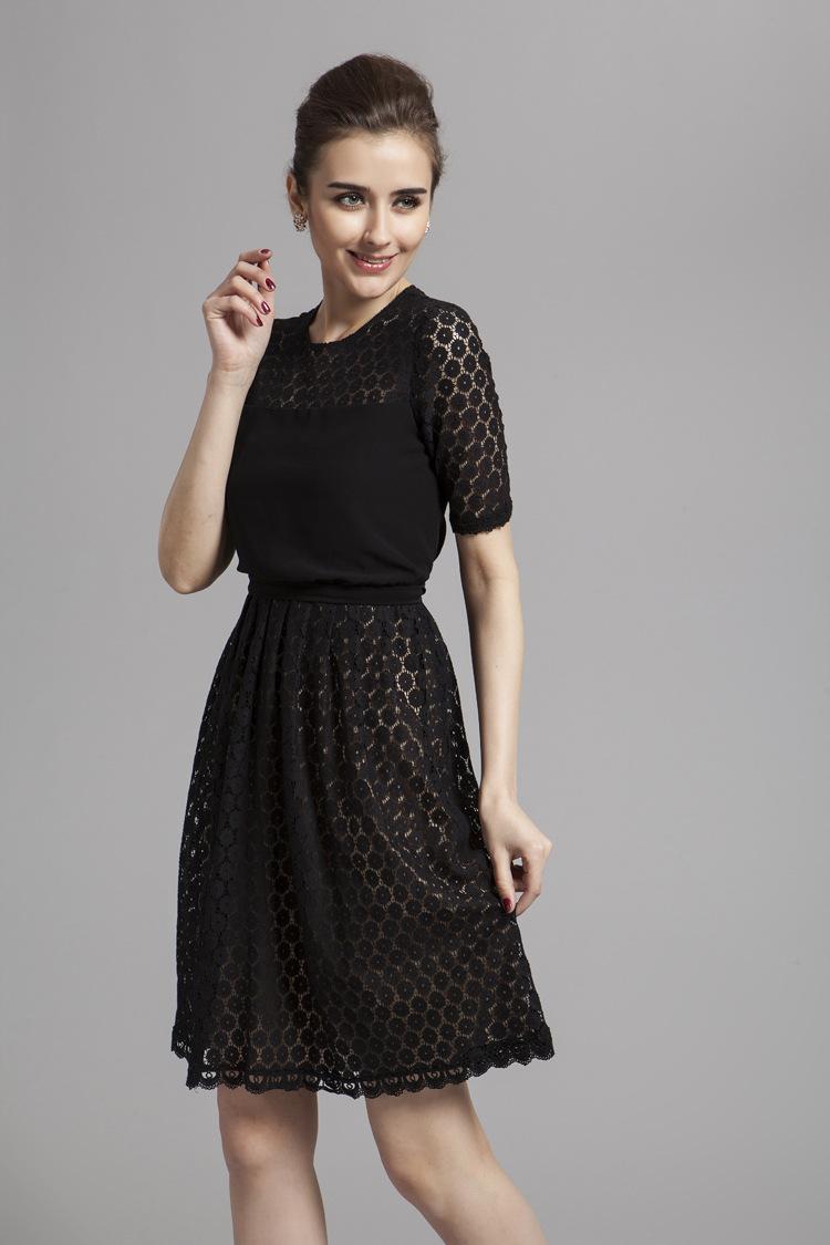 Celebrity Inspires Short Black Lace Cocktail Party Dresses ...