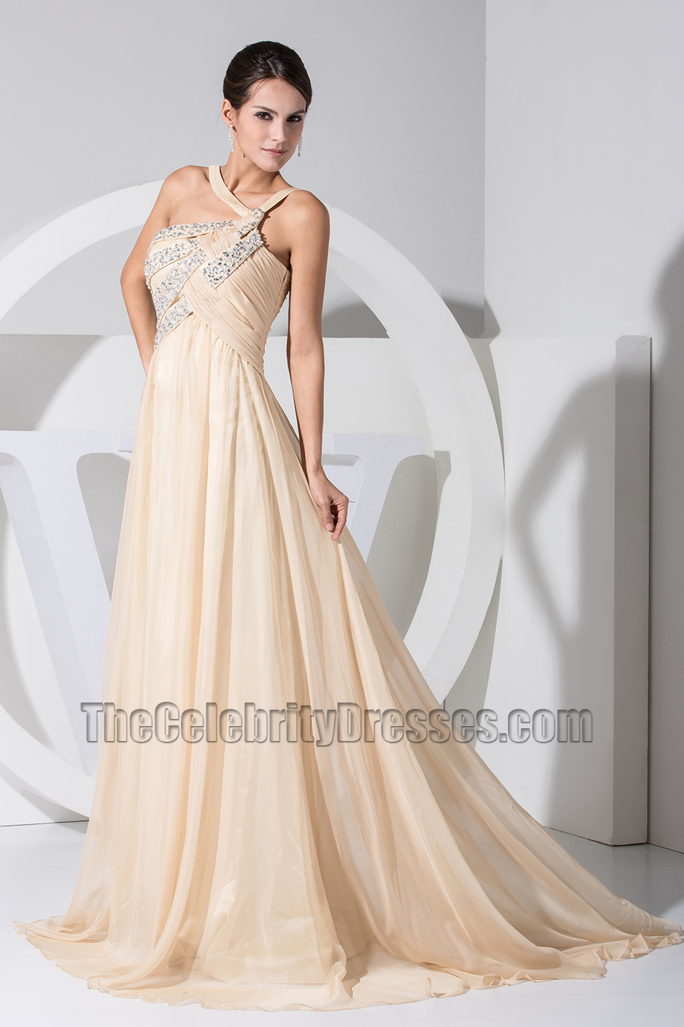 Chic Champagne Chiffon A Line Prom Dress Evening Dresses Thecelebritydresses