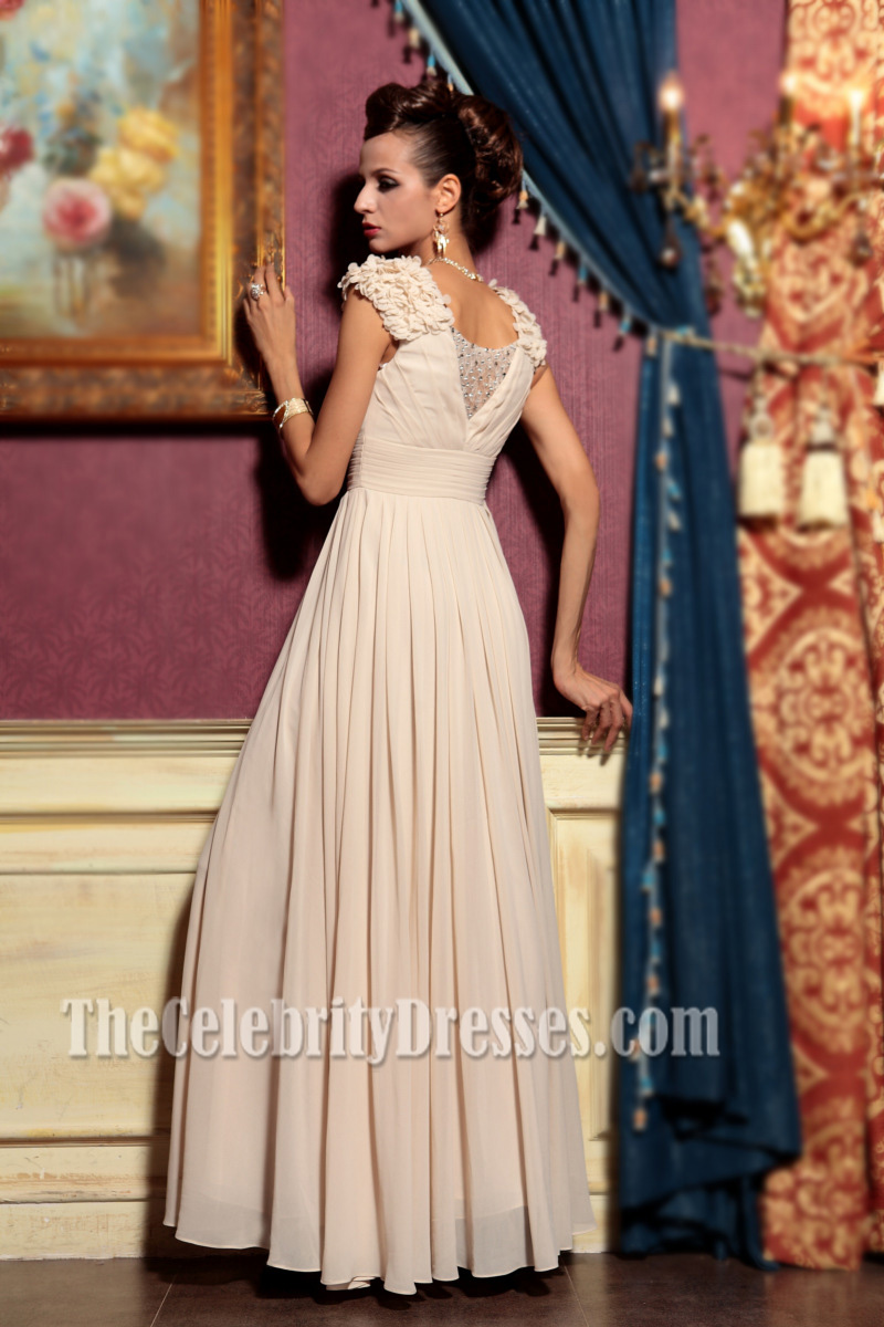 Champagne V-neck Floor Length Evening Dress Prom Gown ...