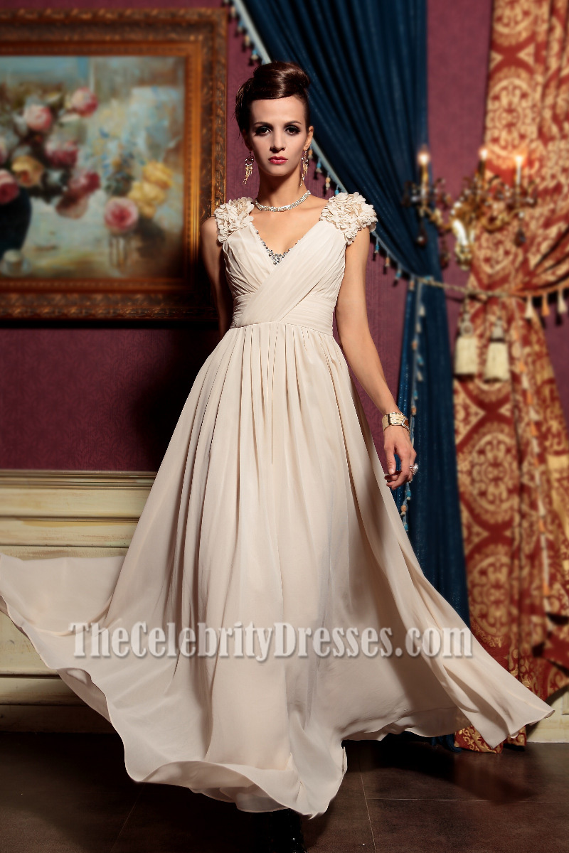 Champagne V Neck Floor Length Evening Dress Prom Gown