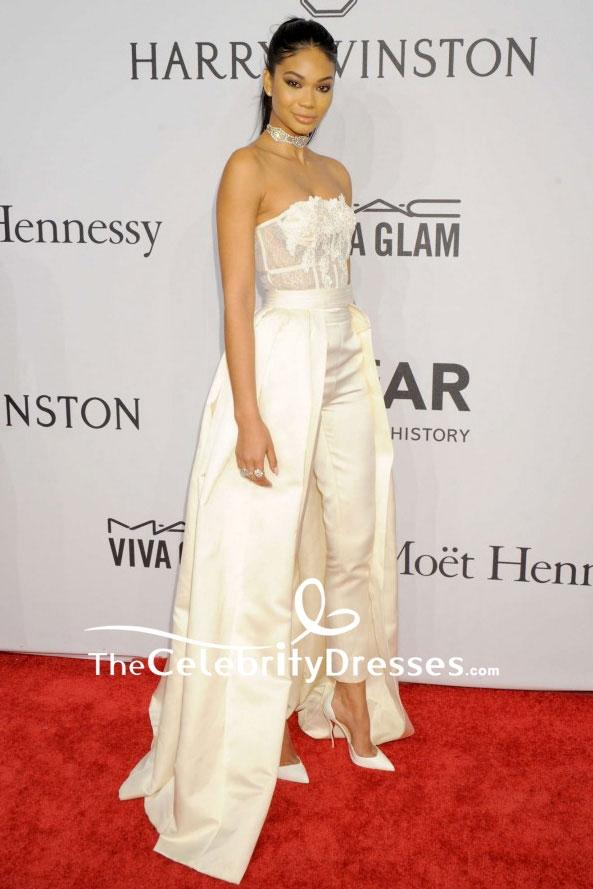 Chanel Iman Light Champagne Strapless Pants Suit 2016 Amfar New York