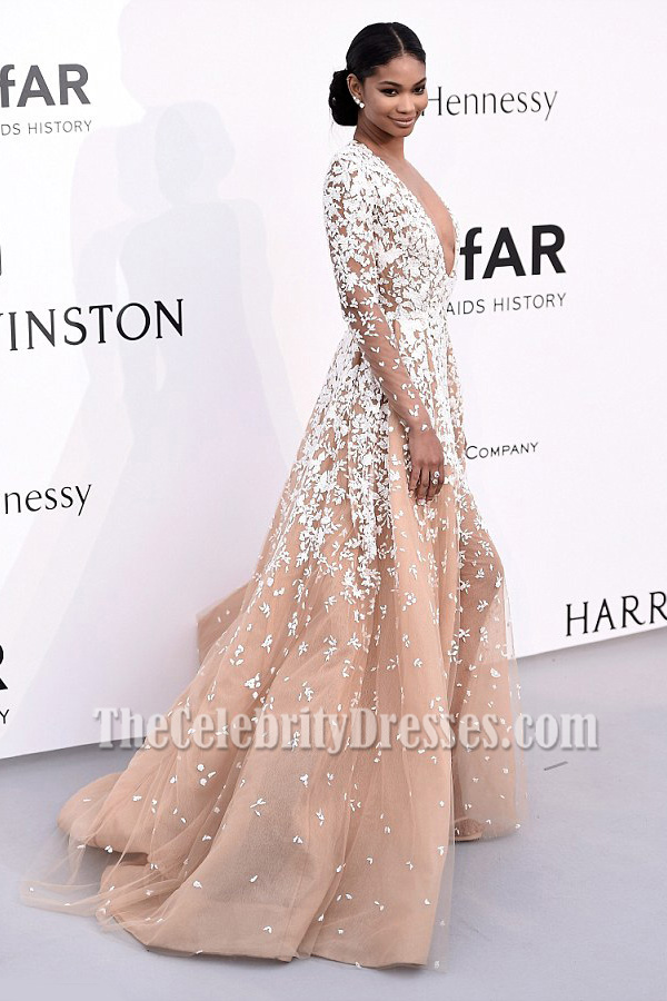 Chanel Iman Deep V-neck Long Sleeves Formal Ball Gown Cannes\' amfAR ...