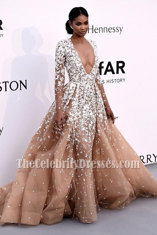 Chanel Iman Deep V-neck Long Sleeves Formal Ball Gown Cannes\' amfAR ...