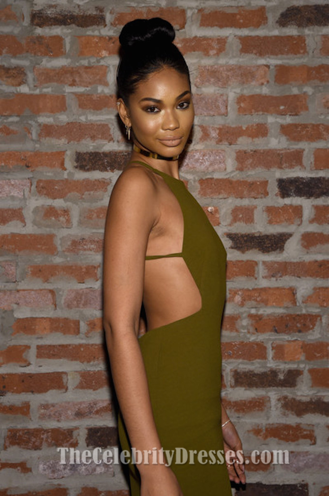 Chanel Iman Sexy Backless Olive Green Evening Gown Img Models Party