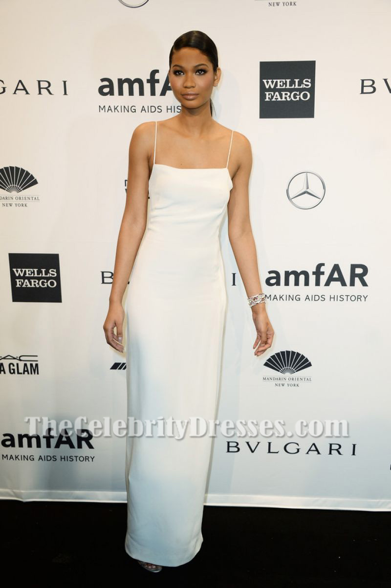 CHANEL IMAN White Spaghetti Straps Evening Gown 2014 amfAR New ...