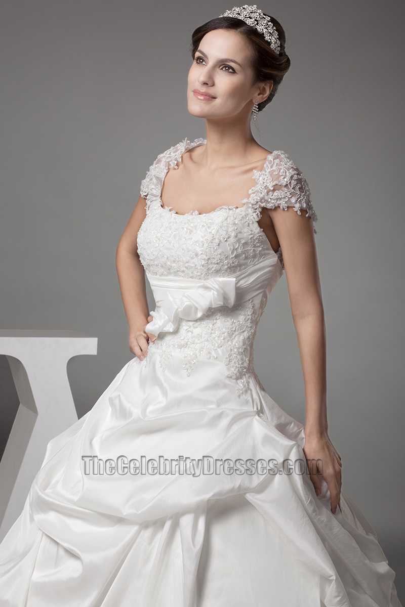a line wedding dresses with sleeves chapel a line cap sleeves lace taffeta wedding 1199