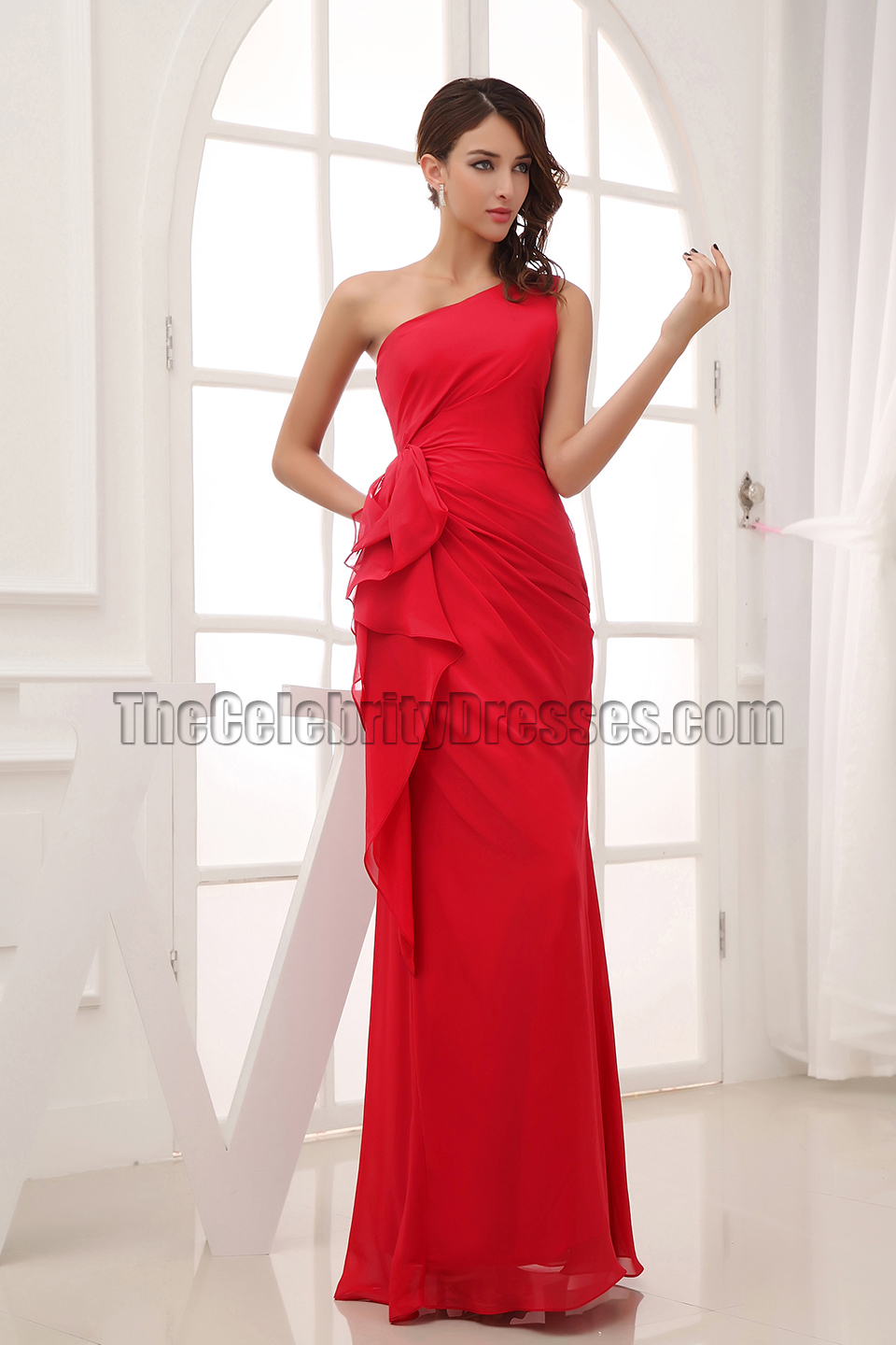 Long red one shoulder bridesmaid dresses prom gown long red one shoulder bridesmaid dresses prom gown thecelebritydresses ombrellifo Gallery