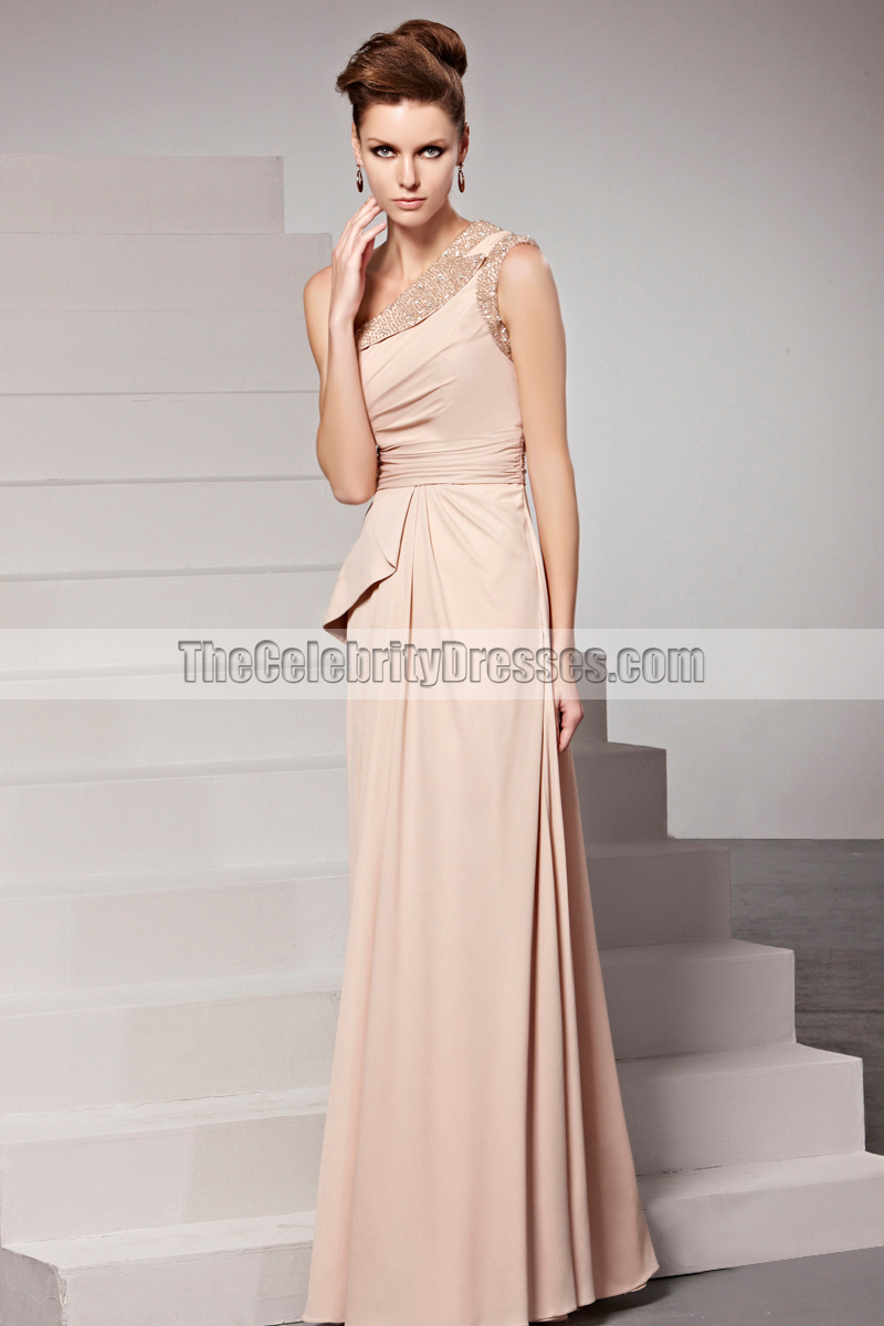 Chic Floor Length One Shoulder Beaded Prom Gown Evening Dress ...