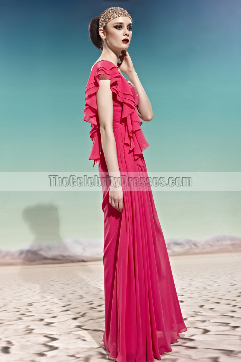 Chic Floor Length One Shoulder Fuchsia Prom Dress Evening Gown ...