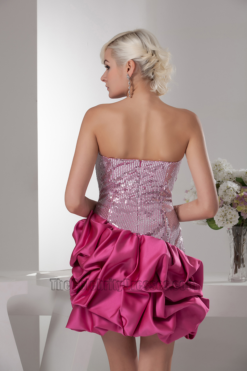 Chic Fuchsia Strapless Silver Sequins Party Cocktail Dresses ...