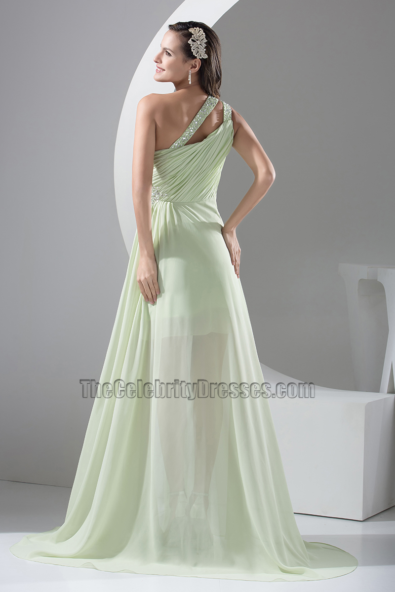 Sage One Shoulder Chiffon High Low Prom Dress Evening Gown ...