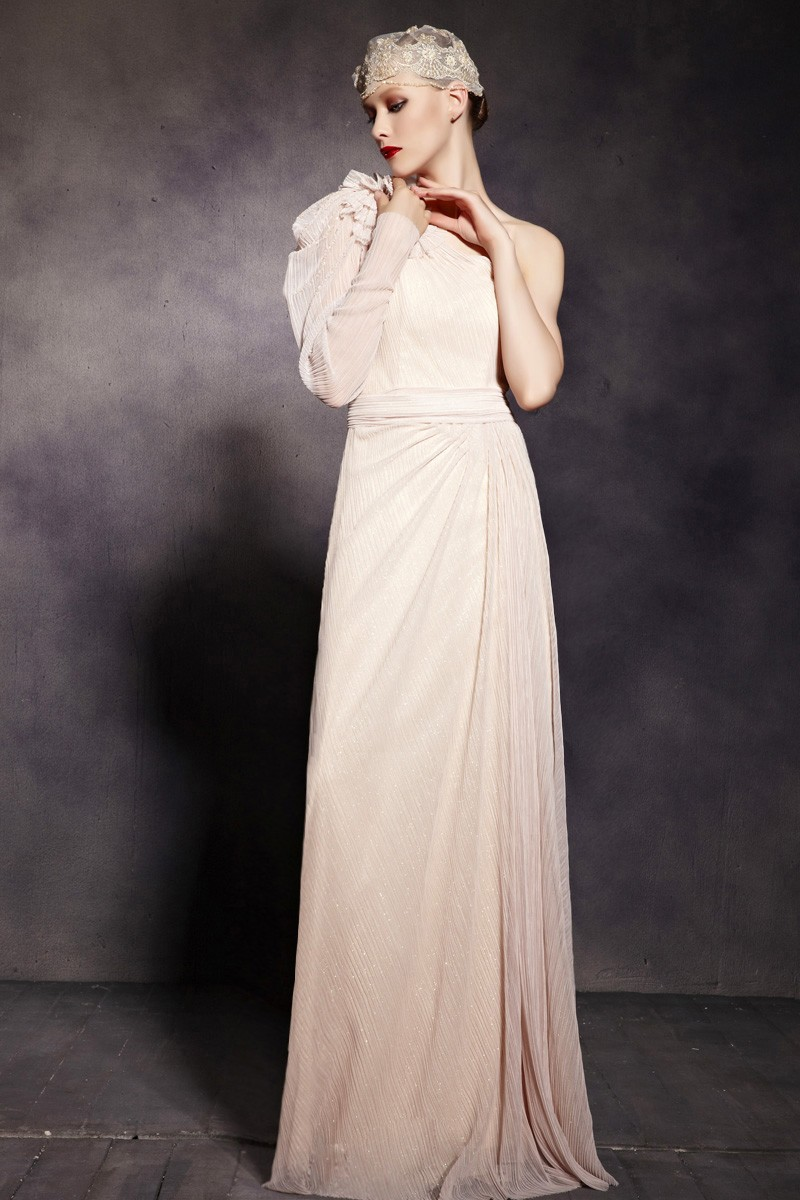 Chic One Sleeve Beaded Prom Gown Evening Formal Dresses