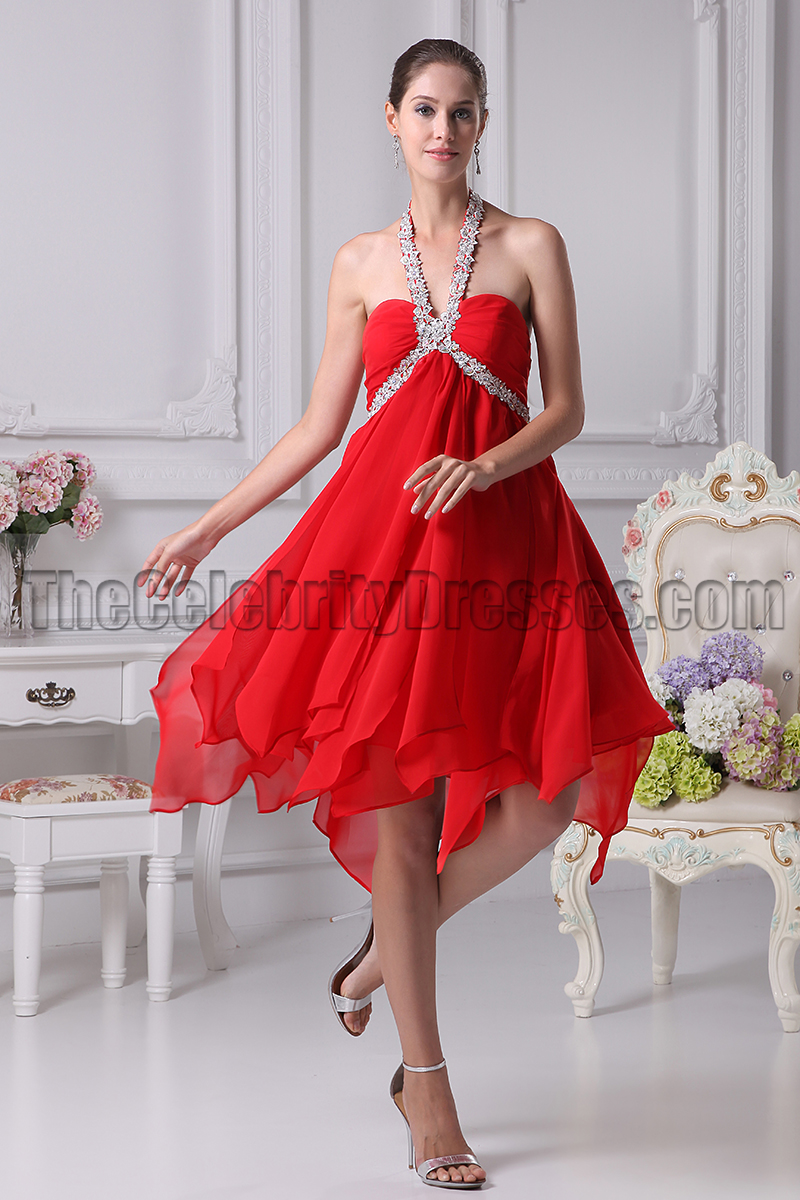 Red Chiffon Cocktail Dresses