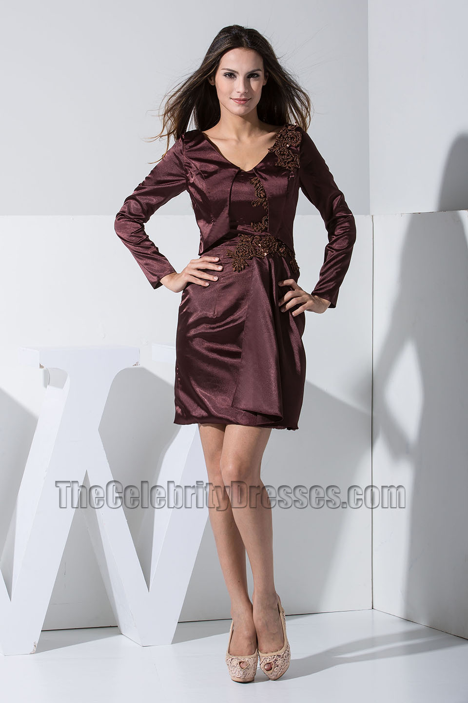Chic Short Long Sleeve Embroidery Party Dress Cocktail Homecoming ...