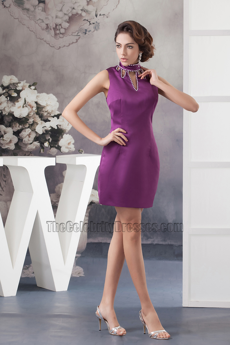 Chic Short Purple High Neck Party Homecoming Dresses ...