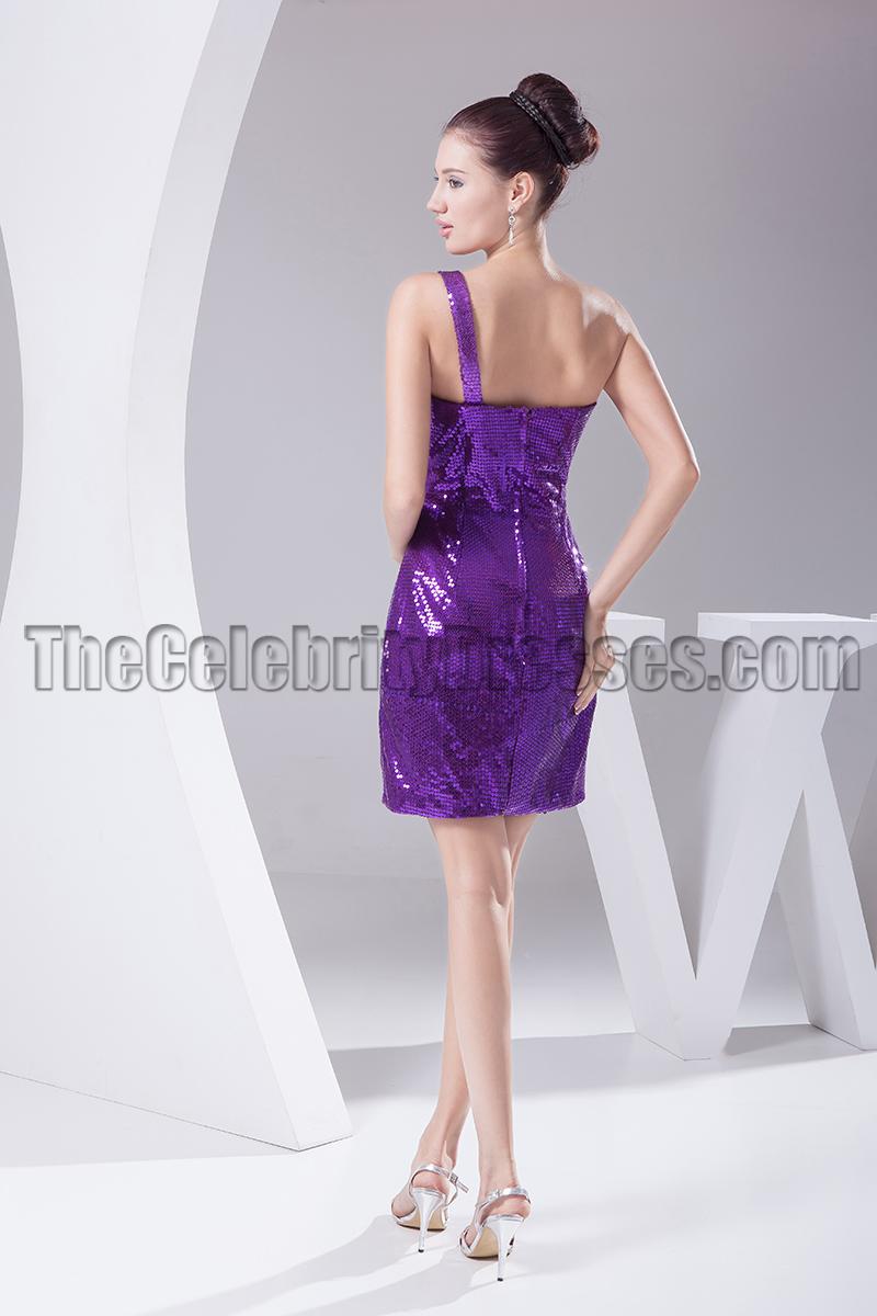 Chic Short Purple Sequined One Shoulder Party Dresses ...