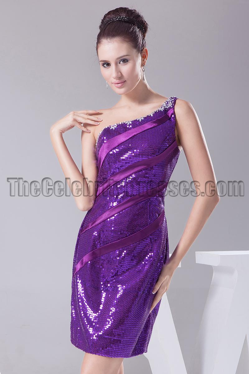 One Shoulder Short Purple Prom Dress