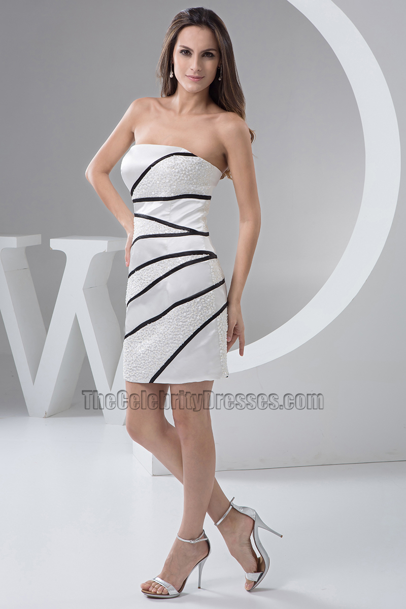 Chic Short Strapless Cocktail Graduation Party Dress With Beadwork