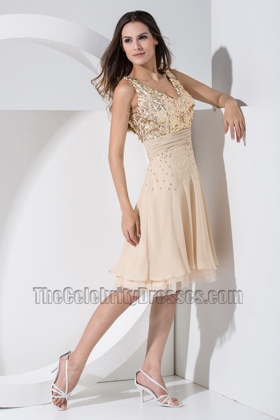 Chic Short Chiffon V-neck Sequins Party Dress Homecoming Dresses ...