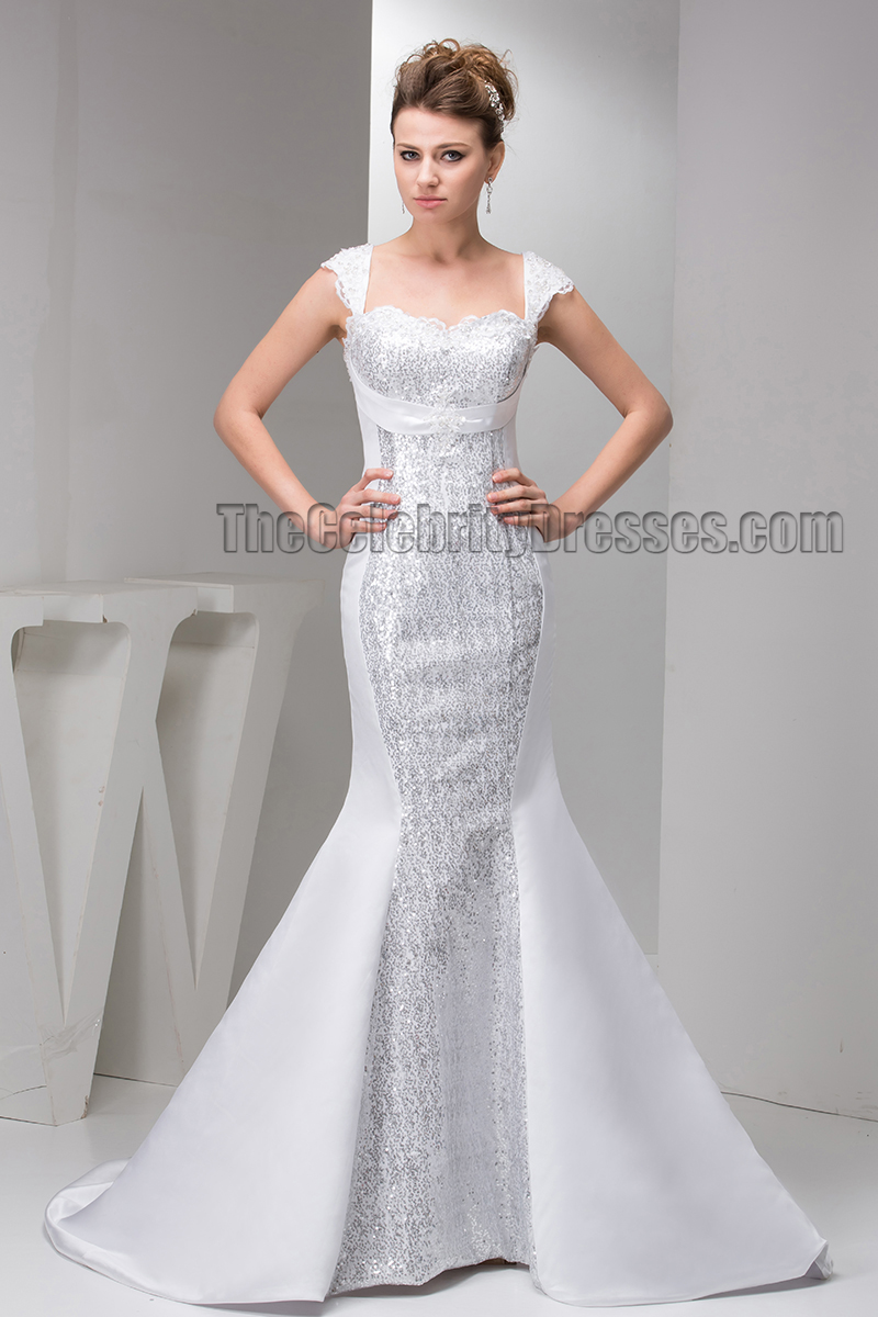 Chic Trumpet/Mermaid Sequins Cap Sleeve Wedding Dress   TheCelebrityDresses