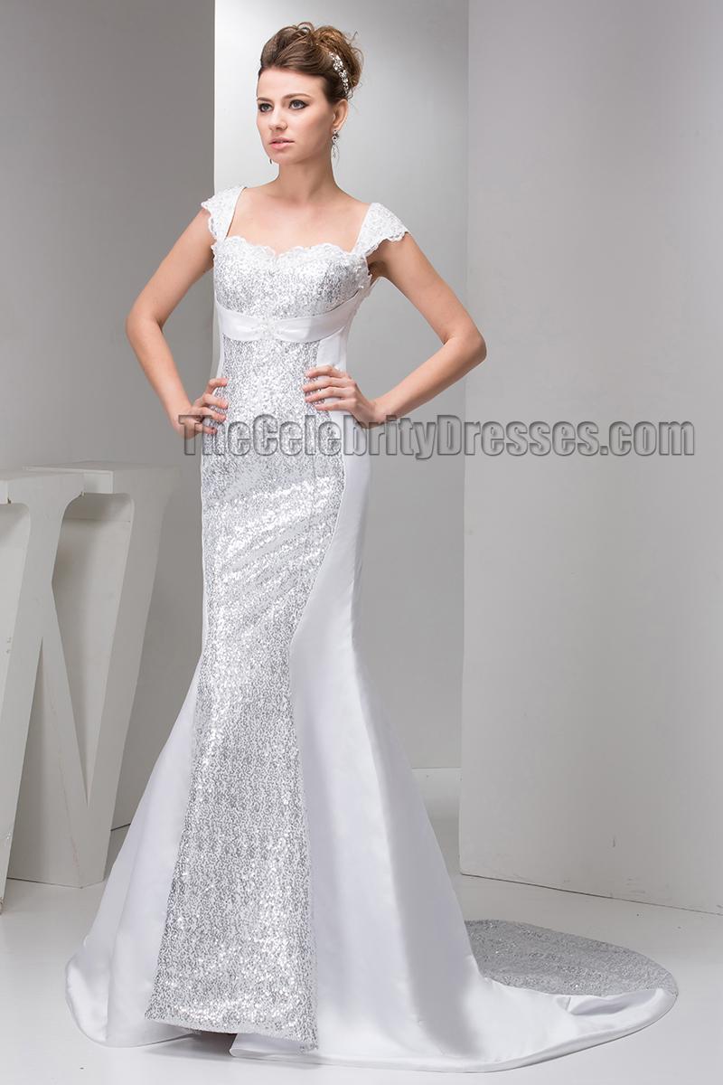 Chic trumpet mermaid sequins cap sleeve wedding dress for Trumpet mermaid wedding dress with sleeves