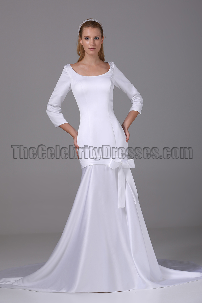Chic White Long Sleeve Mermaid Wedding Dress Bridal Gown ...