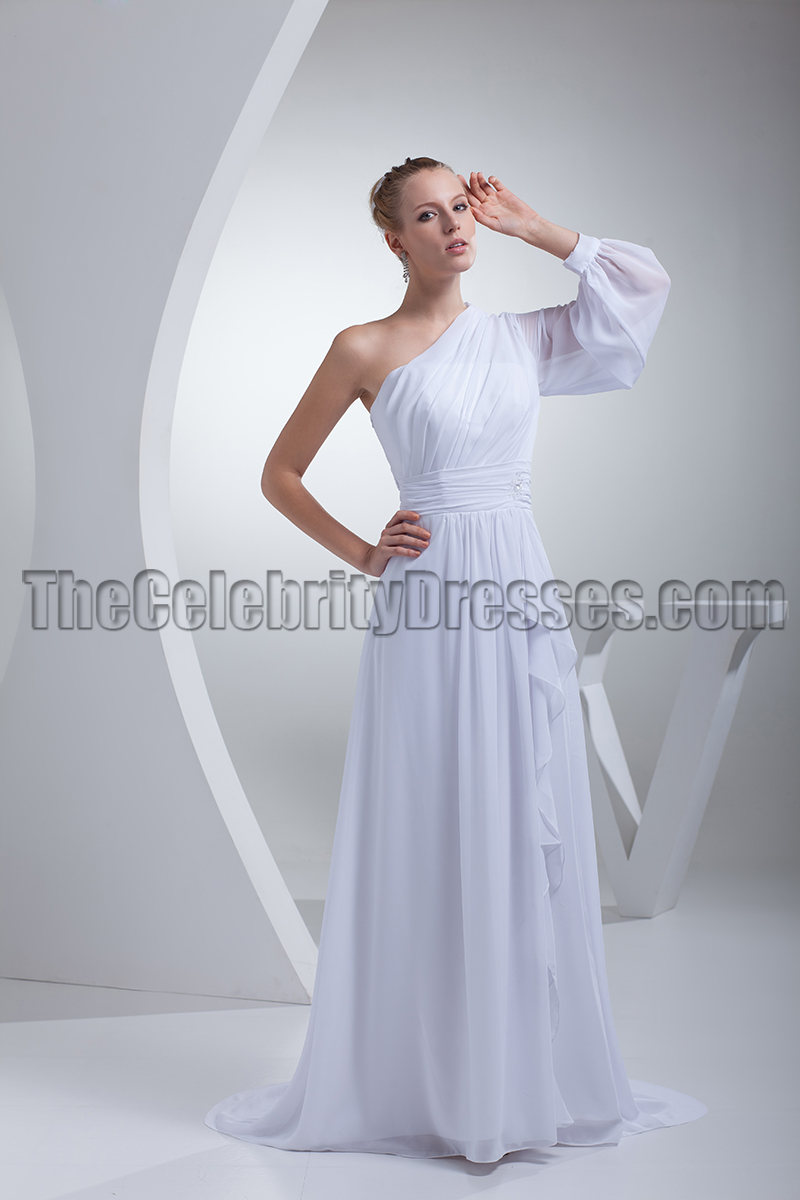 Chic White One Sleeve Evening Gown Prom Formal Dresses