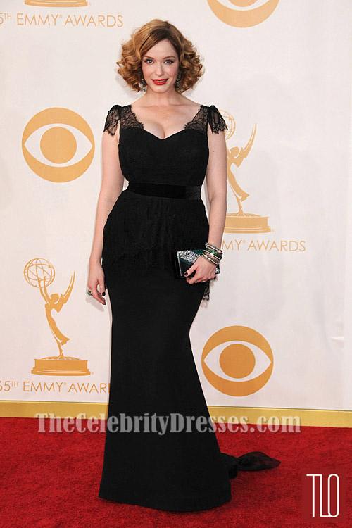 christina hendricks black plus size prom dress 2013 emmy