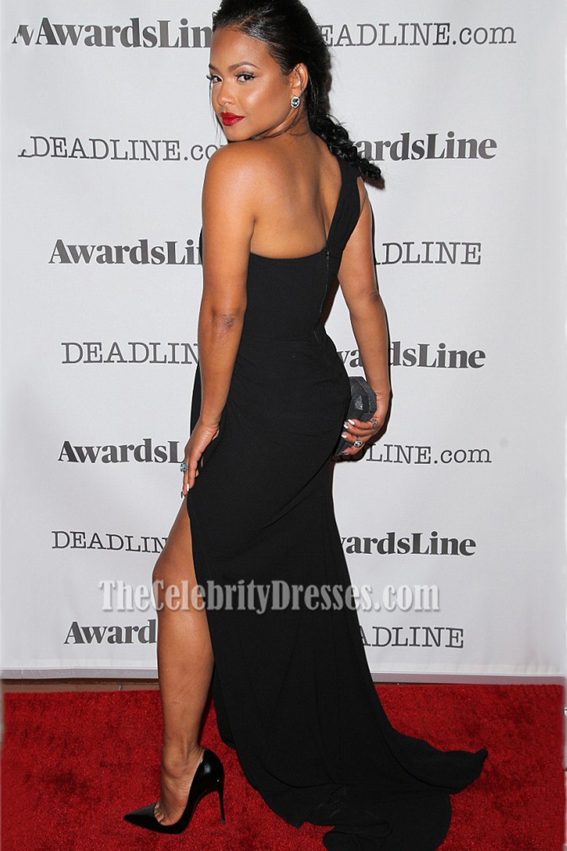 Christina Milian Black One-shoulder High Slit Red Carpet Evening ...