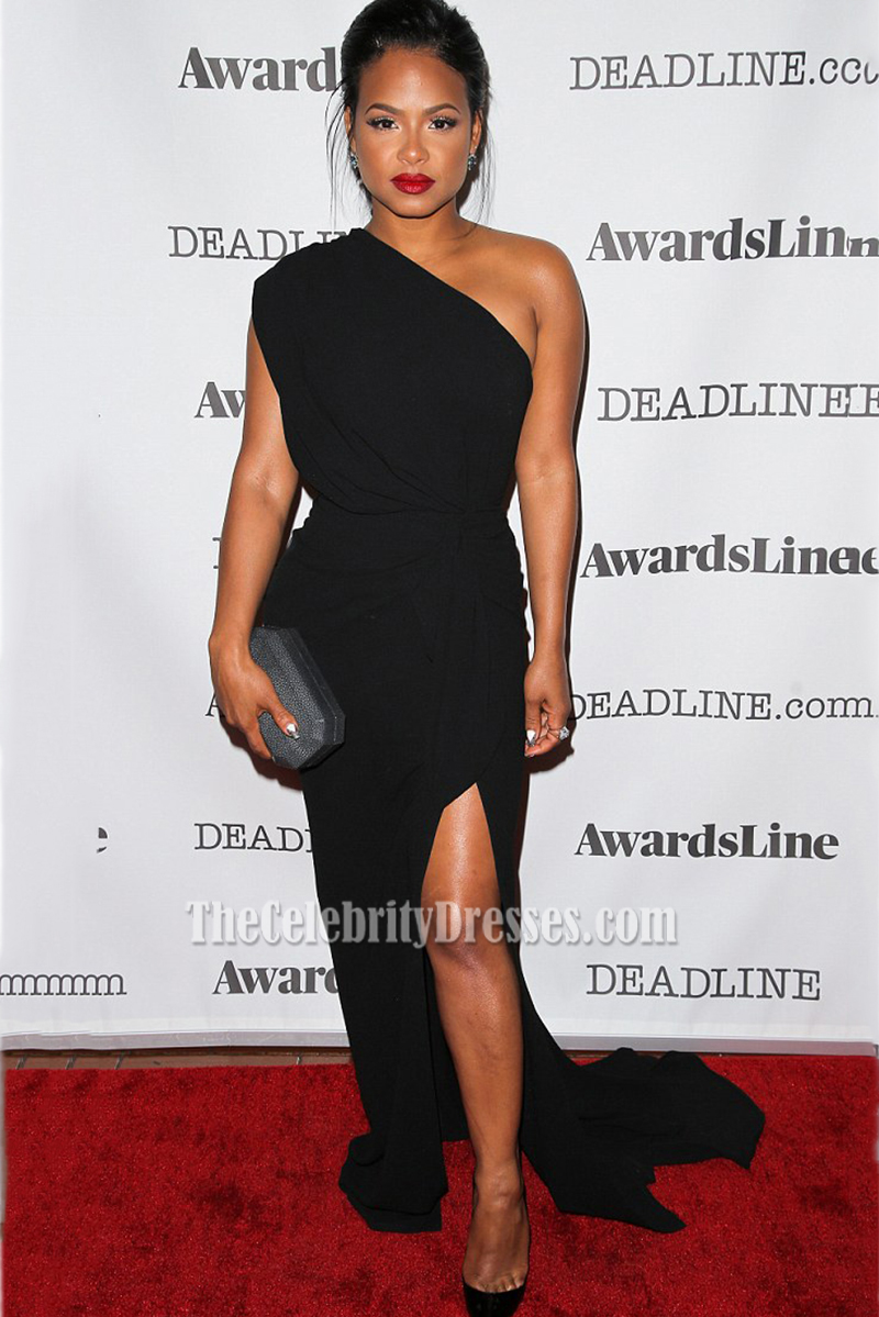 Christina Milian Black One-shoulder High Slit Red Carpet Evening ...