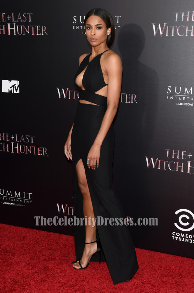Ciara Sexy Black Evening Dress 'The Last Witch Hunter' New York ...
