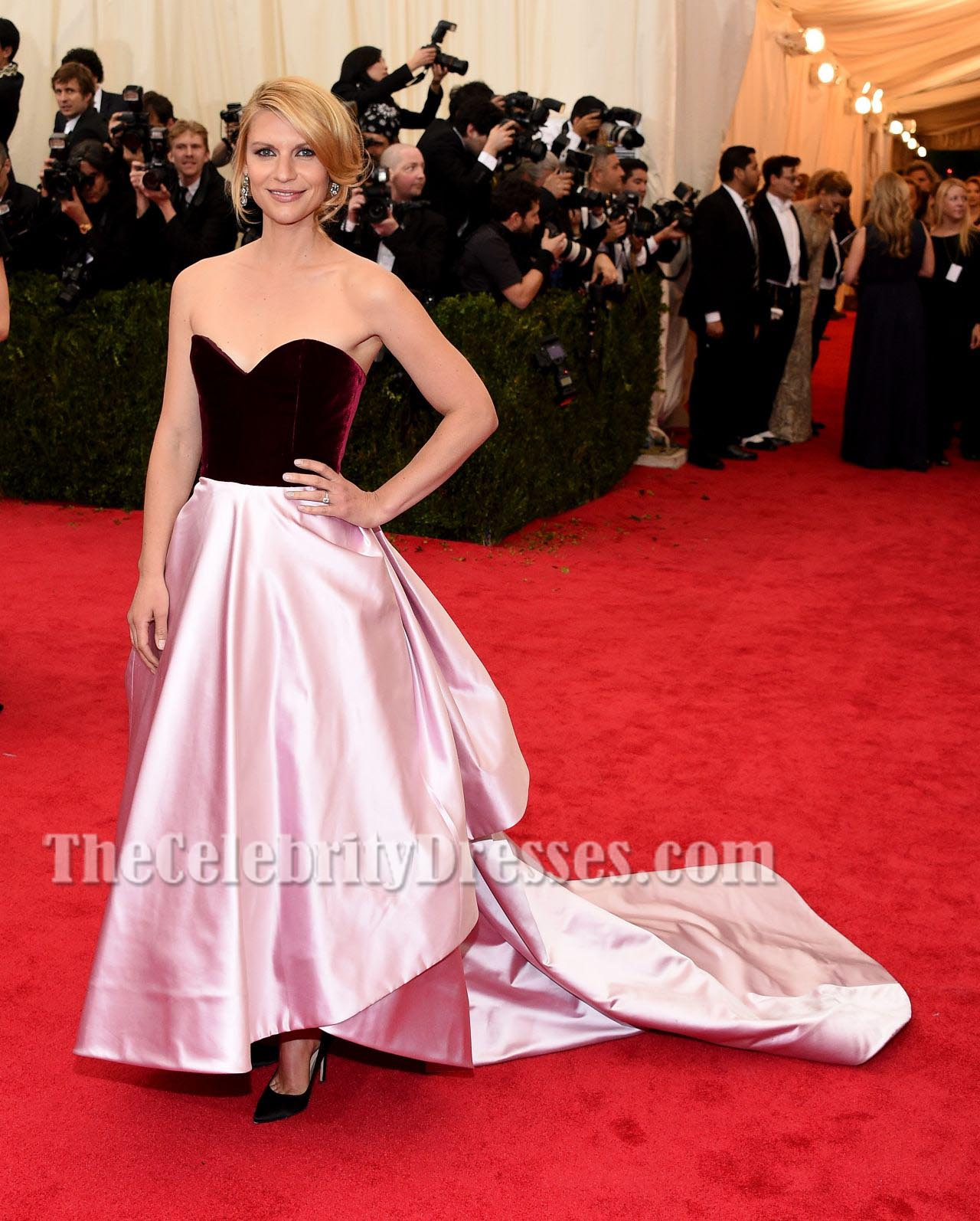 Claire Danes Satin Formal Dress Ball Gown 2014 Met Costume Institute ...