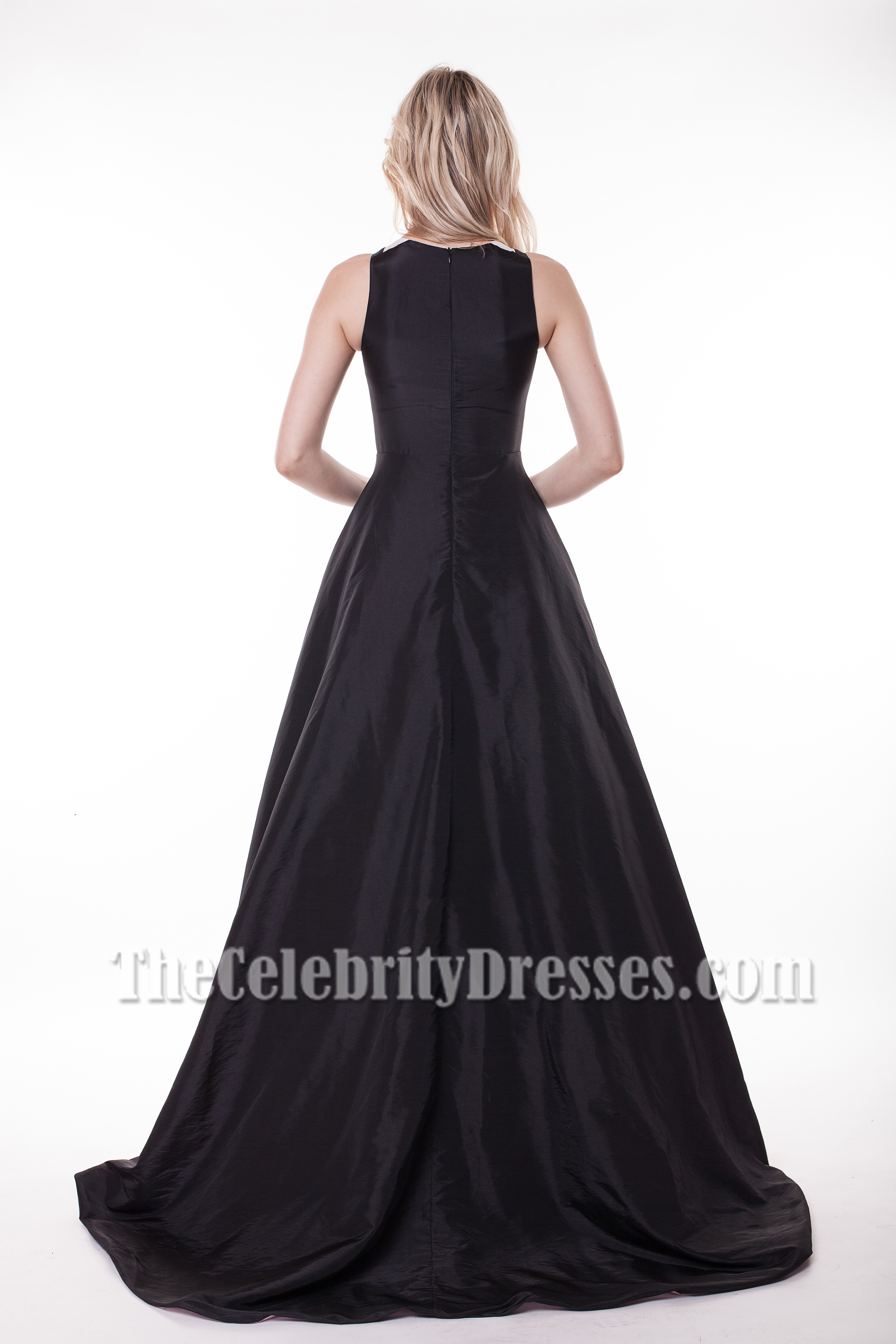 Classic White And Black A-Line Formal Dress Evening Gowns ...