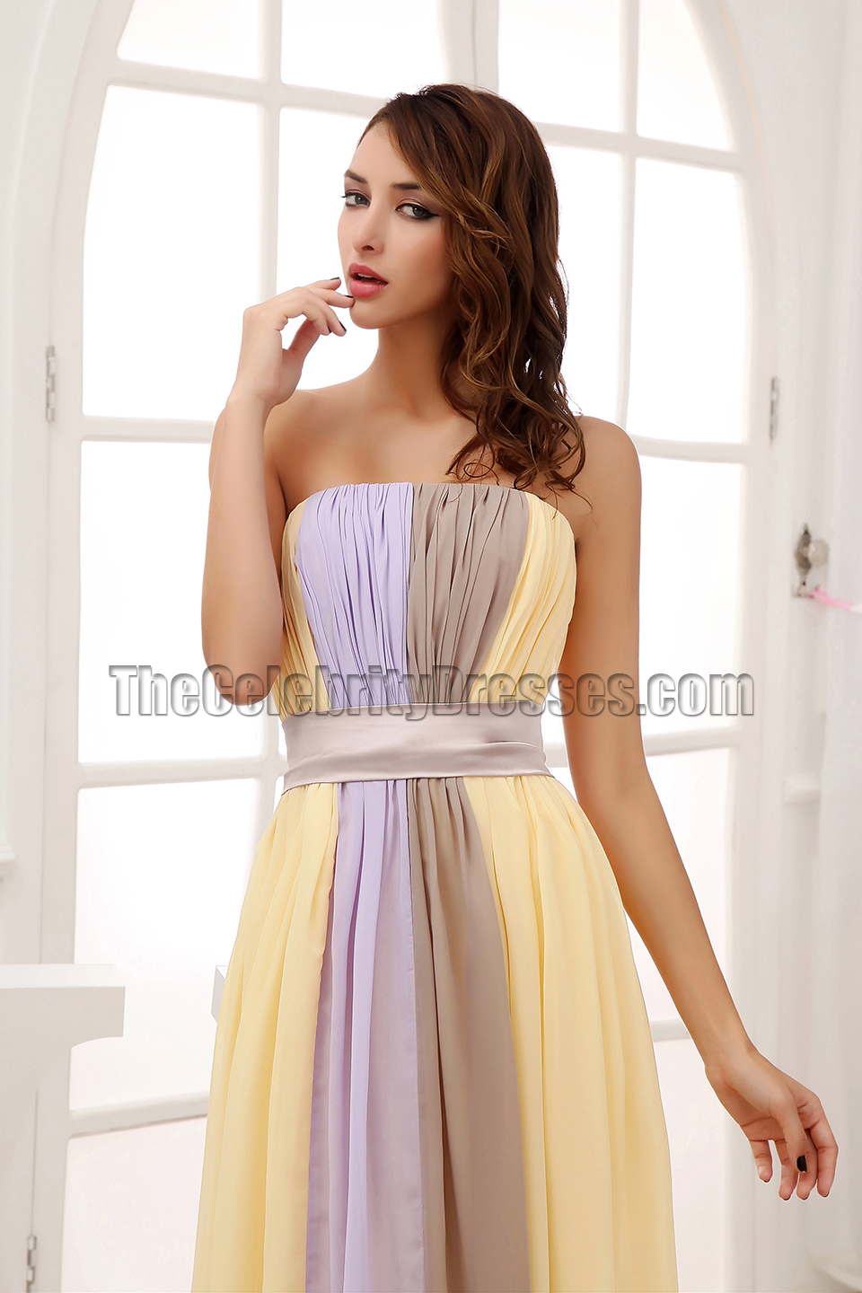 Floor Length Color Block Chiffon Prom Dress Evening Gown ...