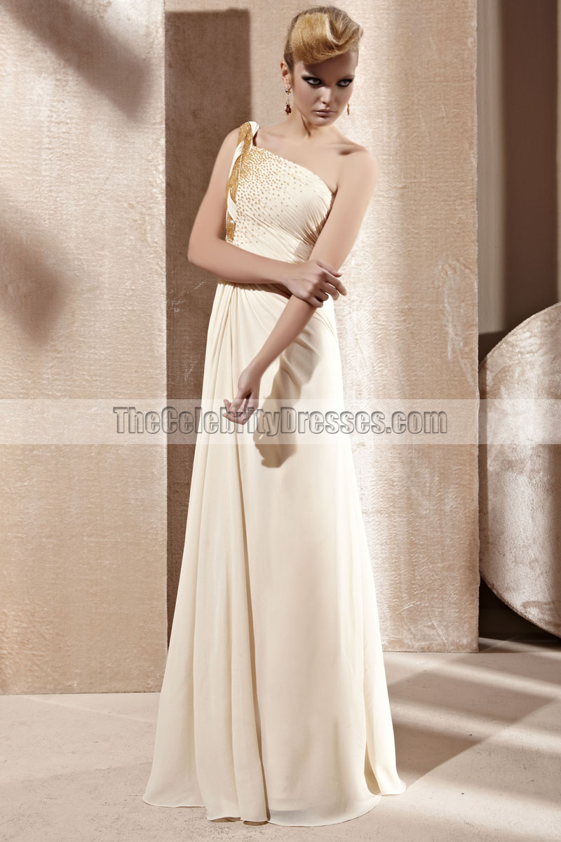 Cream One Shoulder Beaded Chiffon Prom Dress Evening Gown ...