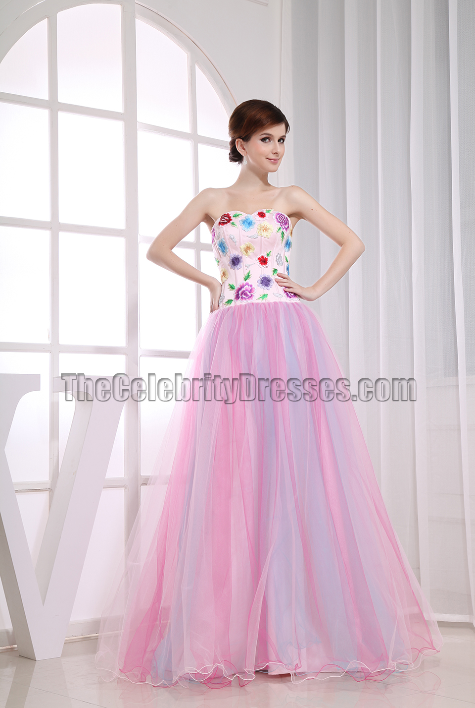 Gorgeous A Line Embroidery Prom Dress Ball Gown Formal Dresses