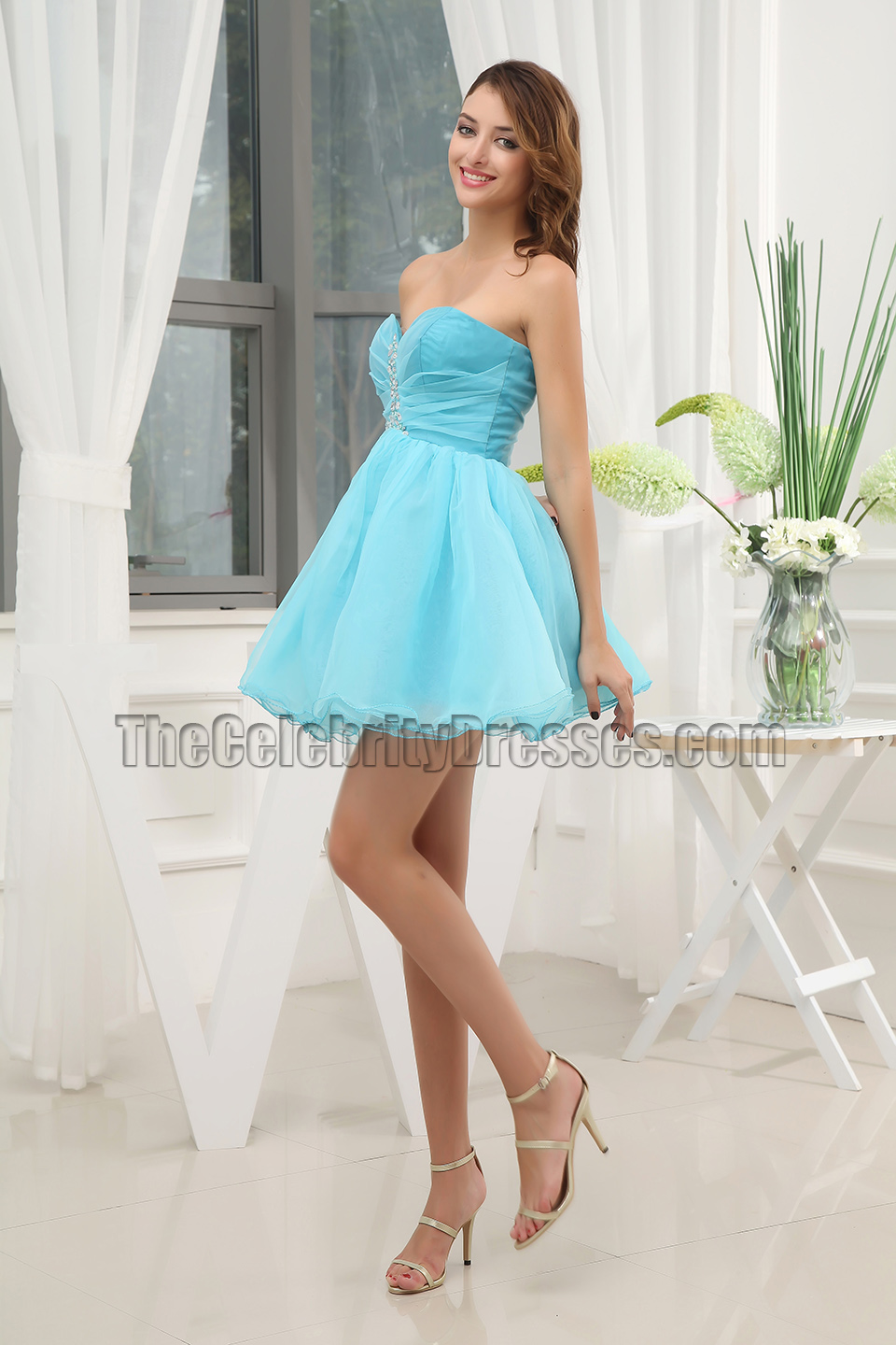 Cute Blue Strapless Short Mini Party Dress Homecoming ...